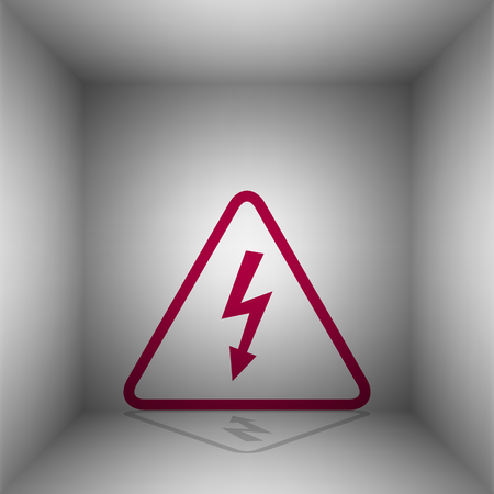 High voltage danger sign. Bordo icon with shadow in the room. Illustration