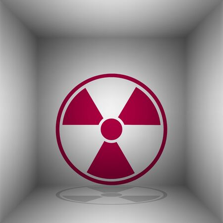 Radiation Round sign. Bordo icon with shadow in the room. Illustration