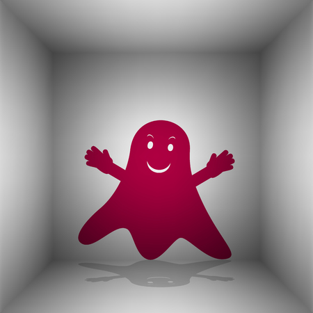 Ghost isolated sign. Bordo icon with shadow in the room.