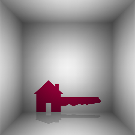 Home Key sign. Bordo icon with shadow in the room.