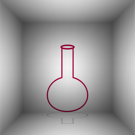 hypothesis: Tube. Laboratory glass sign. Bordo icon with shadow in the room.