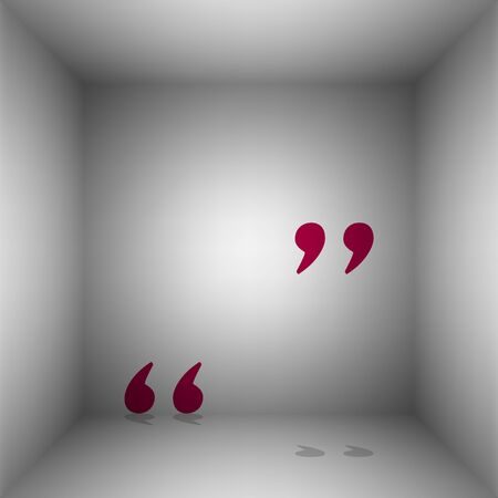 Quote sign illustration. Bordo icon with shadow in the room.