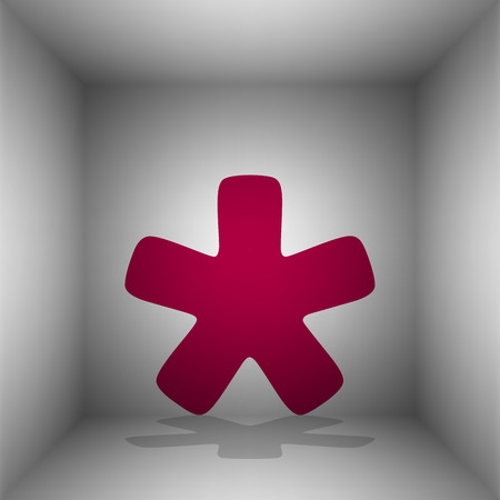 Asterisk star sign. Bordo icon with shadow in the room.