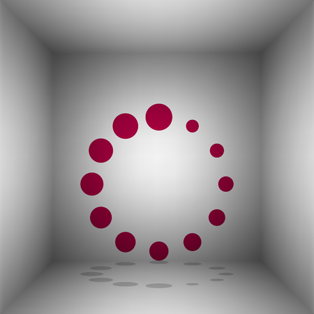 Circular loading sign. Bordo icon with shadow in the room. Illustration