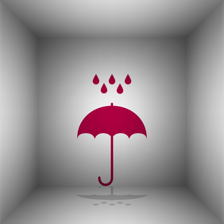 Umbrella with water drops. Rain protection symbol. Flat design style. Bordo icon with shadow in the room.