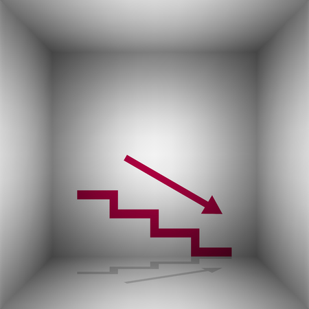 stair: Stair down with arrow. Bordo icon with shadow in the room.