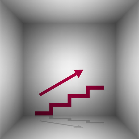 stair: Stair with arrow. Bordo icon with shadow in the room.