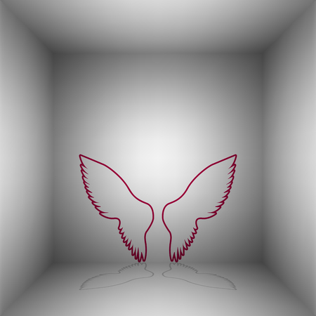 Wings sign illustration. Bordo icon with shadow in the room. Illustration