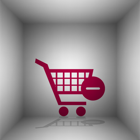 Vector Shopping Cart with Remove sign. Bordo icon with shadow in the room. Illustration
