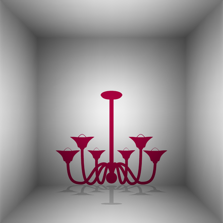Chandelier simple sign. Bordo icon with shadow in the room. Illustration