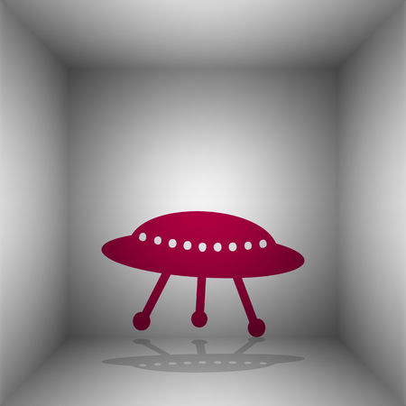 unidentified flying object: UFO simple sign. Bordo icon with shadow in the room. Illustration