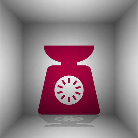 ounce: Kitchen scales sign. Bordo icon with shadow in the room. Illustration