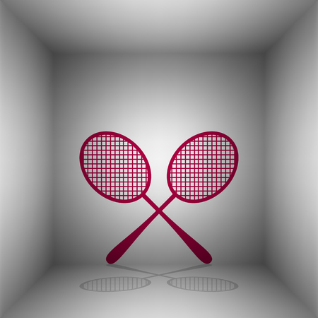 Tennis racquets sign. Bordo icon with shadow in the room.
