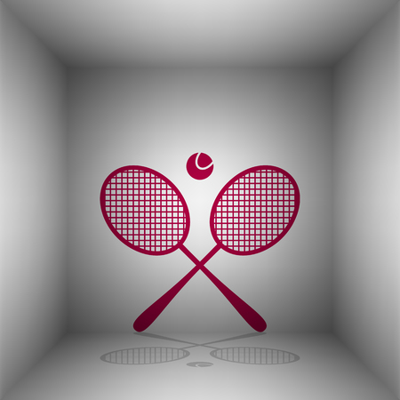 Tennis racket sign. Bordo icon with shadow in the room. Ilustração