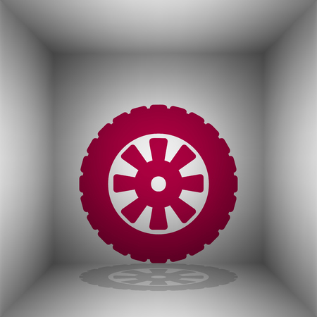 Road tire sign. Bordo icon with shadow in the room.