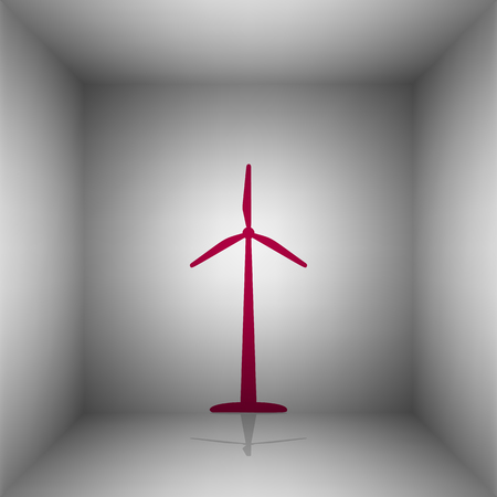 Wind turbine logo or sign. Bordo icon with shadow in the room.