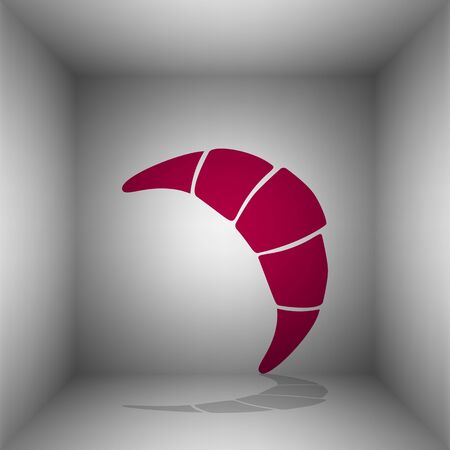 Croissant simple sign. Bordo icon with shadow in the room.