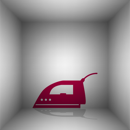flatiron: Smoothing Iron sign. Bordo icon with shadow in the room. Illustration