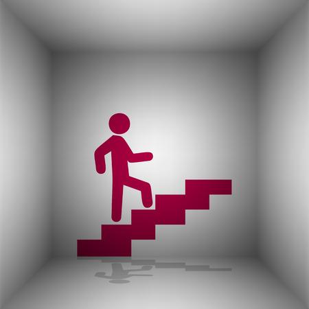 Man dans les escaliers à monter. Bordo icône avec l'ombre dans la chambre. Banque d'images - 66435599