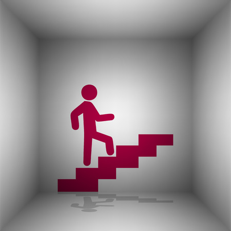 upstairs: Man on Stairs going up. Bordo icon with shadow in the room.