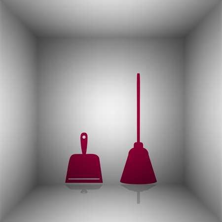 whisk broom: Dustpan vector sign. Scoop for cleaning garbage housework dustpan equipment. Bordo icon with shadow in the room.