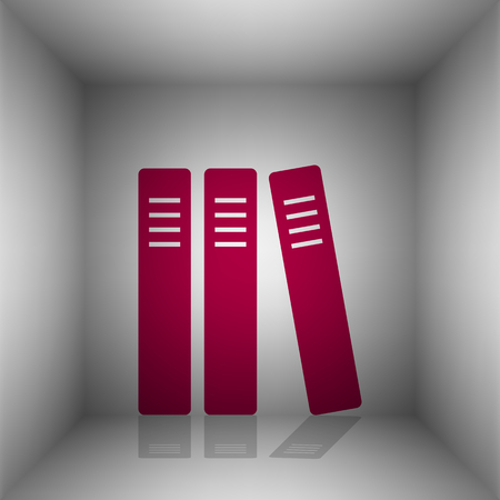 classify: Row of binders, office folders icon. Bordo icon with shadow in the room. Illustration