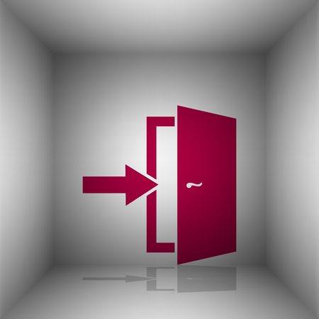 room door: Door Exit sign. Bordo icon with shadow in the room.