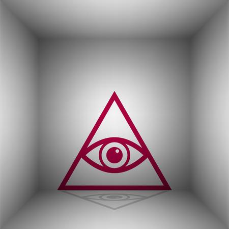 ojo de horus: Todo lo ve símbolo de la pirámide del ojo. Masón y espiritual. Bordo icono con la sombra en la habitación. Vectores