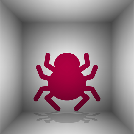Spider sign illustration. Bordo icon with shadow in the room.