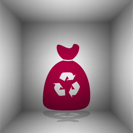 discard: Trash bag icon. Bordo icon with shadow in the room.