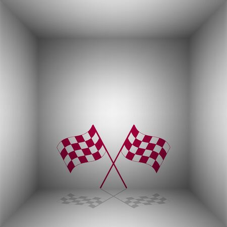 Crossed checkered flags logo waving in the wind conceptual of motor sport. Bordo icon with shadow in the room.