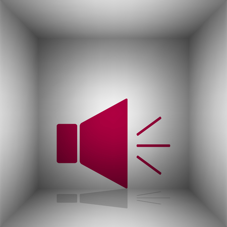 Sound sign illustration with mute mark. Bordo icon with shadow in the room.