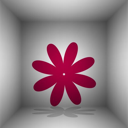 flower room: Flower sign illustration. Bordo icon with shadow in the room. Illustration