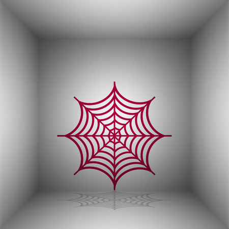 Spider on web illustration. Bordo icon with shadow in the room.