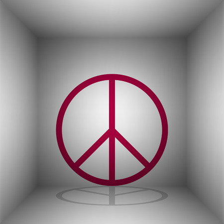 Peace sign illustration. Bordo icon with shadow in the room. Illustration
