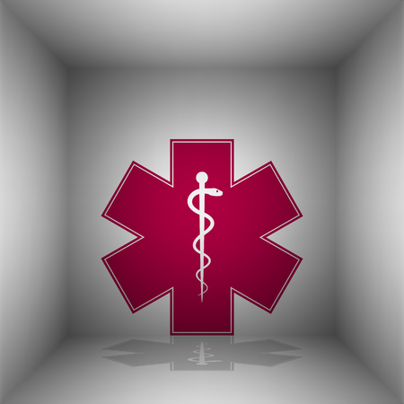 Medical symbol of the Emergency or Star of Life. Bordo icon with shadow in the room. Illustration