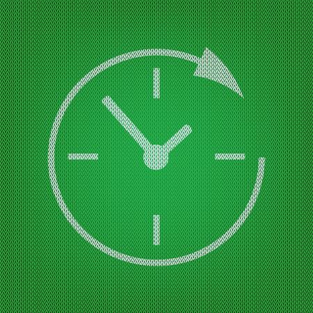 Service en ondersteuning voor klanten 24 uur per dag en 24 uur. wit pictogram op de groene gebreide of wollen doektextuur. Vector Illustratie