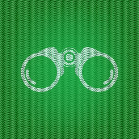 Binocular sign illustration. white icon on the green knitwear or woolen cloth texture. Illustration