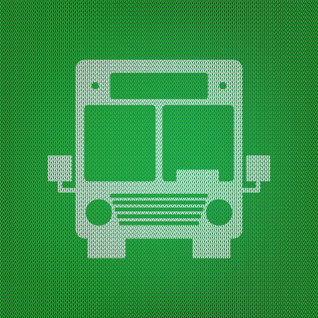 Bus sign illustration. white icon on the green knitwear or woolen cloth texture.