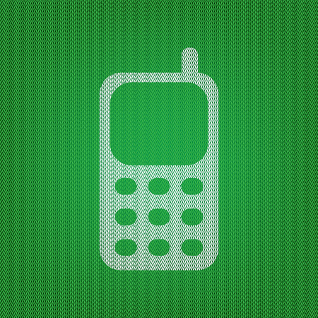 Cell Phone sign. white icon on the green knitwear or woolen cloth texture. Illustration