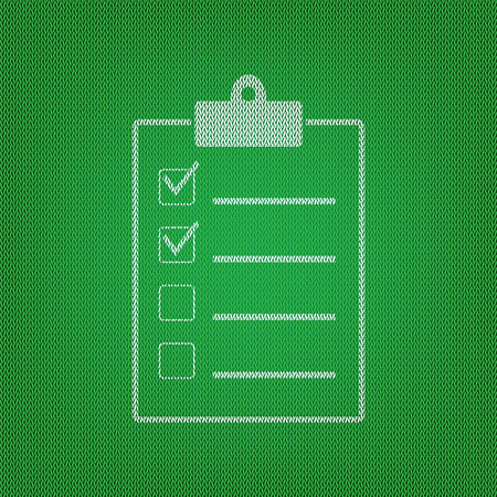 conformity: Checklist sign illustration. white icon on the green knitwear or woolen cloth texture.