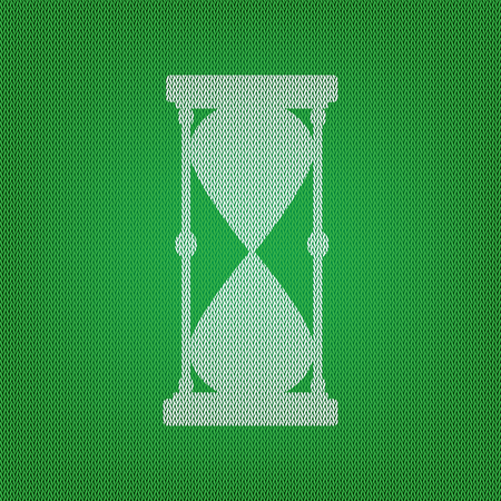Hourglass sign illustration. white icon on the green knitwear or woolen cloth texture. Illustration