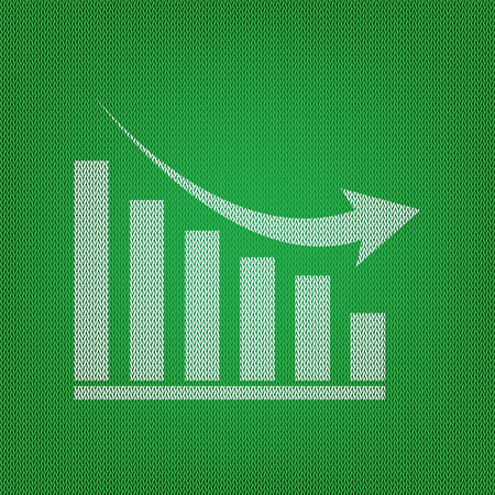 declining: Declining graph sign. white icon on the green knitwear or woolen cloth texture.