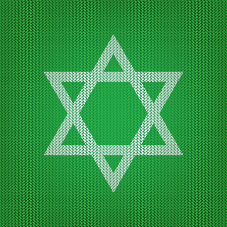Shield Magen David Star. Symbol of Israel. white icon on the green knitwear or woolen cloth texture.