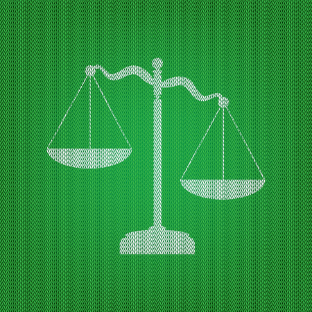 Scales of Justice sign. white icon on the green knitwear or woolen cloth texture. Illustration
