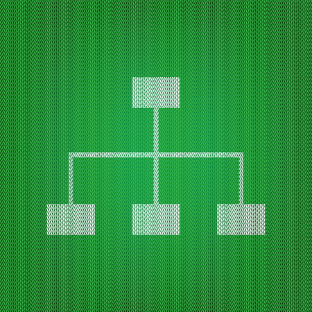 Site map sign. white icon on the green knitwear or woolen cloth texture.