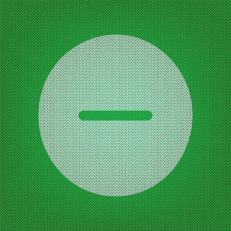 minus sign: Negative symbol illustration. Minus sign. white icon on the green knitwear or woolen cloth texture.