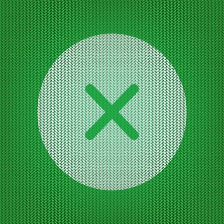 Cross sign illustration. white icon on the green knitwear or woolen cloth texture. Illustration