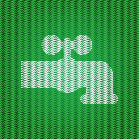 spew: Water faucet sign illustration. white icon on the green knitwear or woolen cloth texture.