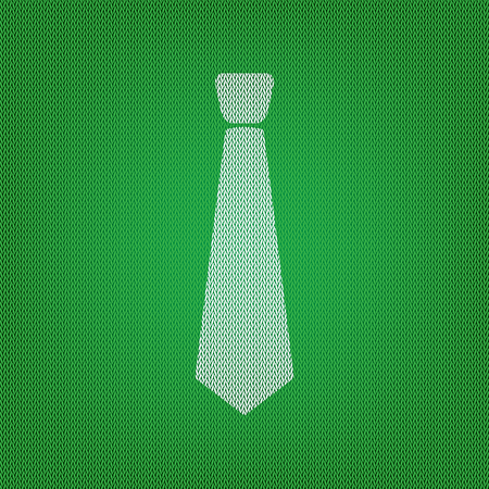 Tie sign illustration. white icon on the green knitwear or woolen cloth texture. Illustration